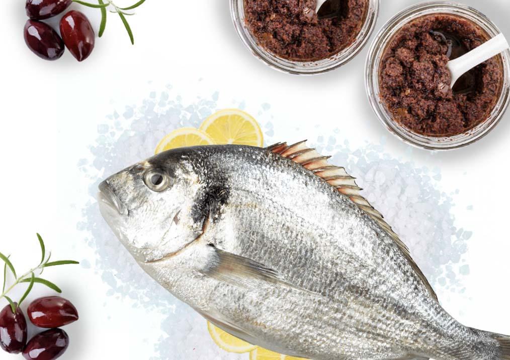 Tapenade olives noires croute de poisson